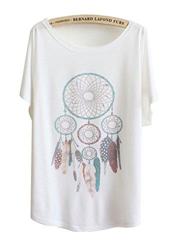 """Luna et Margarita Donna bianca manica a pipistrello modello T-shirt """"di piume pendente"""" formato misto cotone girocollo 46 48"""