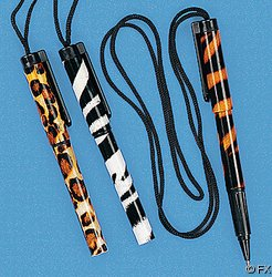 12 Animal Print Pens on a Rope