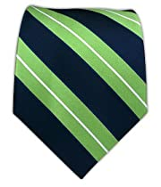 100% Silk Woven Navy and Apple Striped Tie