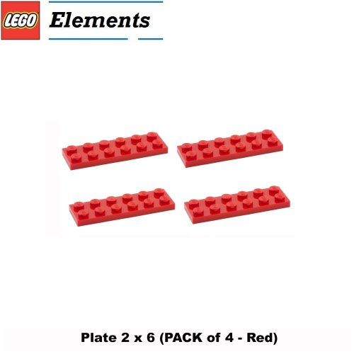 Lego Parts: Plate 2 x 6 (PACK of 4 - Red) - 1