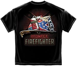 Redneck Firefighter T-shirt Rebel Beer Helmet