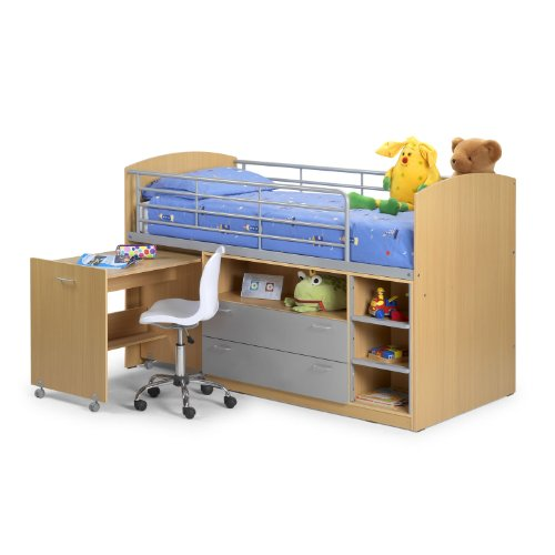 Mid Sleeper Cabin Bed Frame - Shelf Drawers Pull Out Desk - Maple
