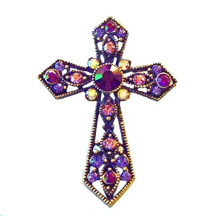 Cross Pin Swarovski Crystals Christian Jewelry Purple Lavender Pink Violet Cr...