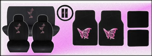 15 Piece Auto Interior Gift Set - Multiple Pink Butterflies - A Set of 2 Seat Covers, 1 Rear Bench Cover, 1 Steering Wheel, a Set of 2 Seat Belt Pads, and a Set of 4 Plush Carpet Floor Mats