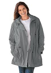 Woman Within Women\'s Plus Size Jacket, Anorak In Weather-Resistant Taslon Slate,2X