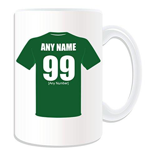 Irlande cadeau personnalisé grand Mug Motif équipe de Football-Blanc-nom Message sur le Mug Unique-Vert armée pour la République d'Irlande