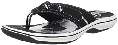 Clarks Women's Seymour Reef Flip Flop,Black,5 M US