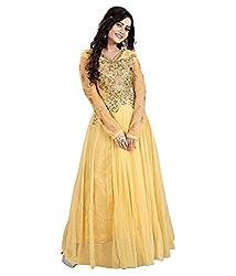 BK ENTERPRISE Women's Beige Net Attractive Gown(bk-5007_freesize)