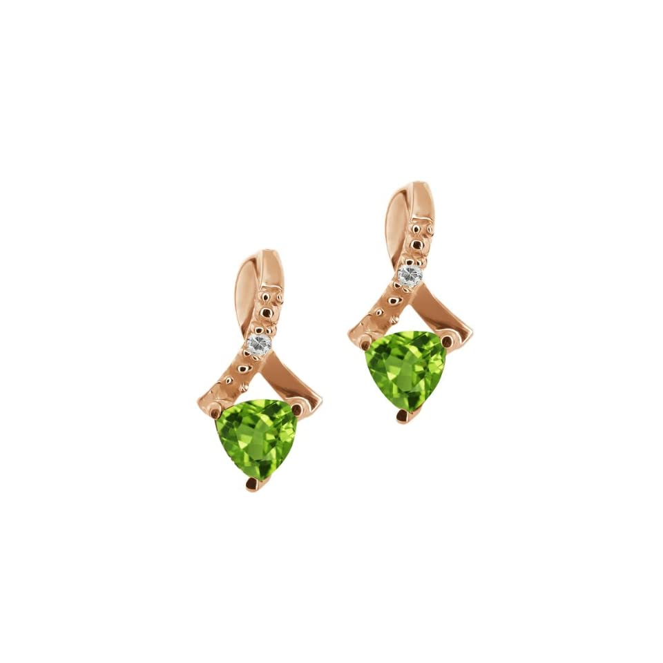 0.54 Ct Trillion Green Peridot and Topaz Gold Plated Silver Earrings