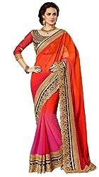 Shyam Creation Women Saree Faux Georgette ( 1000 _ Orange & Pink )
