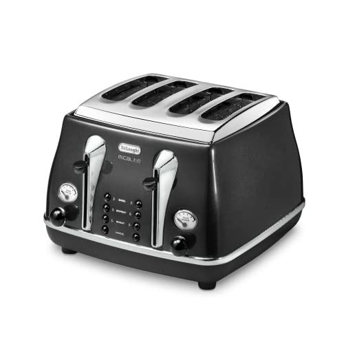 Delonghi 4 Slot Toaster, Black - CTOM4003.BK