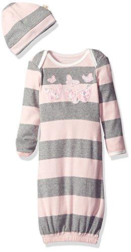 Burt's Bees Baby Girls' Stripe Organic Gown + Cap Set, Blossom, 0-6 Months