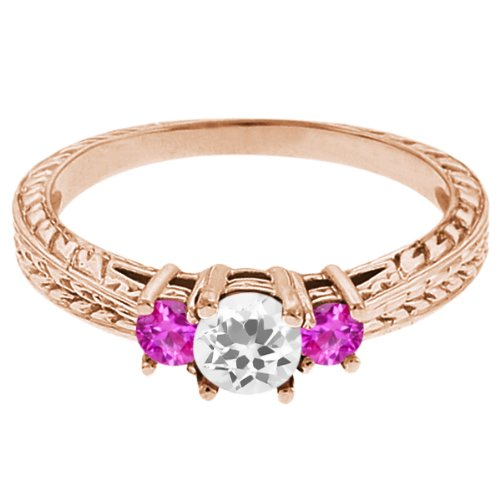 0.59 Ct Round White Topaz Pink Sapphire 18K Rose Gold 3-Stone Ring