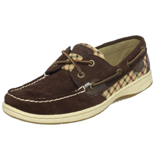SPERRY BLUEFISH 2 EYE BROWN SUEDE TATTERSALL WOMENS BOAT SHOES Size 9M