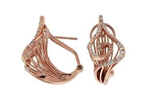 Grande Jewelry Ladies Diamond Earring in 14K Rose Gold (TCW 0.65).