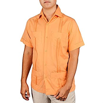 Basic Traditional Cotton Blend guayabera color cantaloupe.