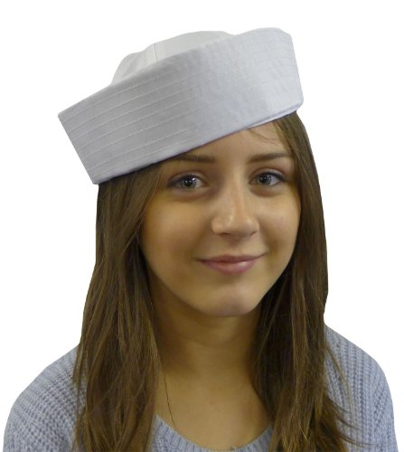 White Sailor Girl Boiler Doughboy Fancy Dress Unisex Party Nautical Hat