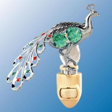 Chrome Peacock Night Light - Green Swarovski Crystal - 1