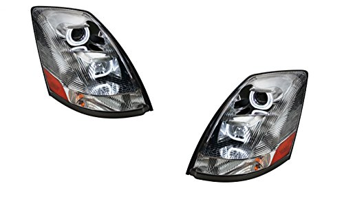 CPW (tm) Volvo VN / VNL 2004+ Projector HALO ANGEL EYE LED Headlight Crystal Look (Volvo Semi Fog Lights compare prices)