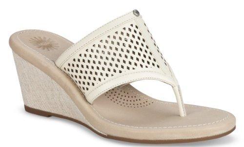 UGGUGG Womens Solena Cream Leather Sandals 7 B - Medium