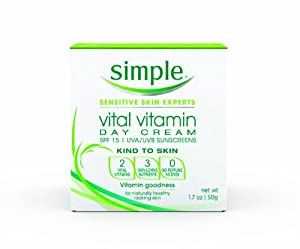 Simple Vital Vitamin Day Cream with SPF 15, 1.7 Ounce