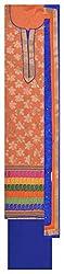 Punjabi Designer Suits Women's Cotton Unstitched Dress Material (Orange and Blue)