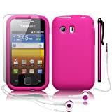 SAMSUNG GALAXY Y S5360 HOT PINK SILICONE SKIN CASE / COVER / SHELL + SCREEN PROTECTOR + STYLUS + HEADSET PART OF THE QUBITS ACCESSORIES RANGEby Qubits