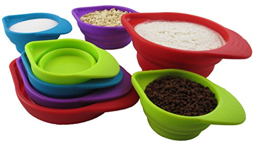 Silcook 8-Piece Set Stackable Silicone Measuring Cups - Space Saving Collapsible Cup Sets to Measure Dry and Liquid Ingredients