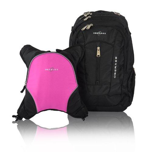 obersee-bern-mochila-para-panales-con-bolsa-isotermica-separable-negro-y-rosa