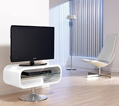 White oPod plasma and LCD designer television stand