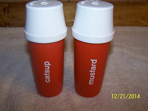 Tupperware Mustard & Catsup Dispensers with Pump and Cap (Catsup Dispenser compare prices)