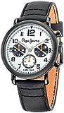 Pepe Jeans Steve Hombre Reloj de cuarzo con Negro esfera analógica pantalla y correa de acero inoxidable bañado en negro r2351108004