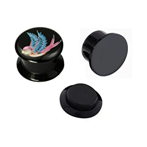 Kadima Body Piercing Jewelry One Pair (2pcs) Black Acrylic Swallow Screw Fit Ear Plugs - 2G(6MM)