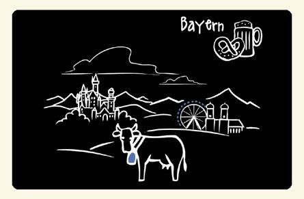 """Kühlschrankmagnet """"Skyline Bayern"""" - als Geschenk für echte Bayern oder als Bayern Souvenir - die stadtmeister"""