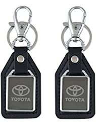 Parrk Toyota Mirror Leather Car Logo Locking Keychain Pack Of 2