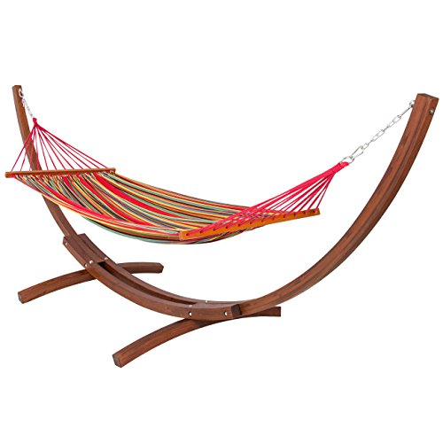 Best Backyard Hammock :  Arc Hammock Stand with Cotton Hammock Outdoor Garden Patio, Natural