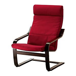 Ikea poang chair black brown with dansbo medium red cushion frame and cover - Red poang chair ...