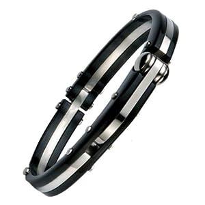 Mens 316L Stainless Steel Black Handcuff Bangle Bracelet Polished