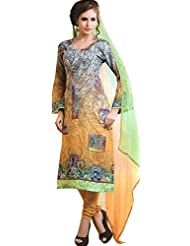 Exotic India Gray And Yellow Shaded Digital Printed Choodidaar Kameez S - Yellow