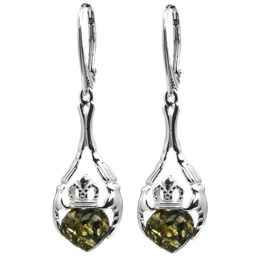 Green Amber and Sterling Silver Claddagh Leverback Heart Earrings