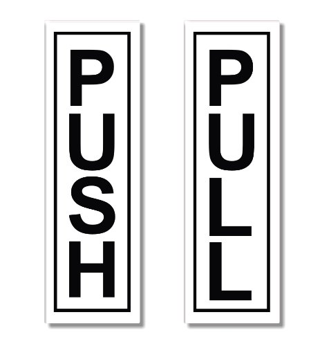 1x Push - 1x Pull - Door Sticker Sign / Self Adhesive (Metal Pull & Push Door Signs compare prices)
