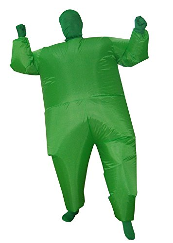 [Inflatable Halloween Fancy Mega Chub Fat Full Body Suit Costume Jumpsuit Green] (Green Man Body Suit)