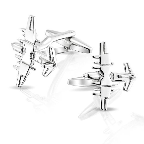Bling Mens Stainless Steel Plated Military Jet Aeroplane Airplane Cufflinks