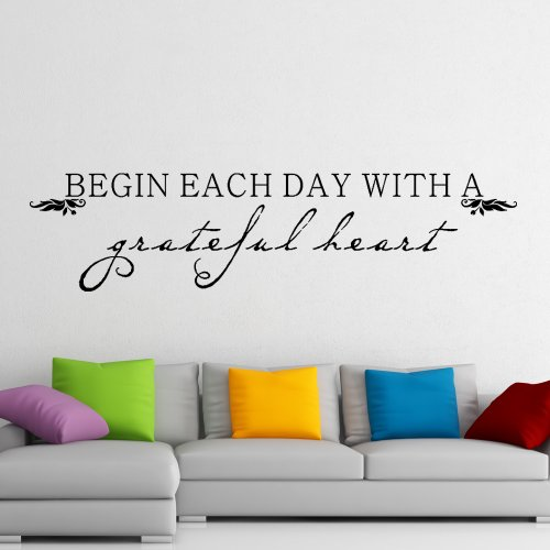 Home Decal Inspirational Quote - Begin Each Day With A Grateful Heart - Life Quote Vinyl Wall Decal Sticker (White, X-large)
