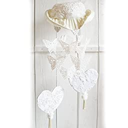 Elegant Satin Mobile of Vintage Wedding Gown Lace Hat Pearl Hearts Sparkling Butterflies Tassels