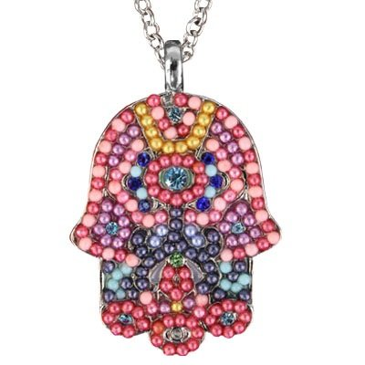 Large Hamsa Necklace & Chain Multi Colored Crystals & Beads