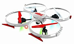 UDI U818A 2.4GHz 4 CH 6 Axis Gyro RC Quadcopter 818A with Camera White with 2 Batteries & Parts Set