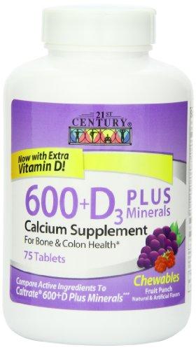 21St Century Calcium 600 Mg +D Plus Minerals Chewable Tablets, 75-Count
