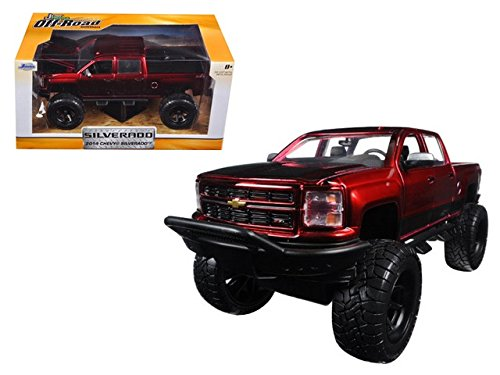 2014-chevrolet-silverado-pickup-truck-red-with-black-off-road-1-24-by-jada-97477