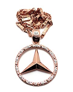"Iced Out Rose Gold mercedes benz Pendant w/6mm 30"" Link Chain Necklace OP34 from NYfashion101, Inc."